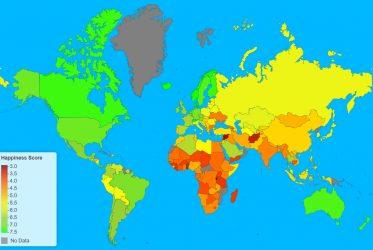 Mapa pokazująca poziom szczęśliwości na świecie