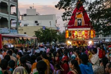 Gdy dotarliśmy do Mysore, nazywanego miastem pałaców,  właśnie miała miejsce procesja wyznawców kultu Kryszny. My jednak nie tracąc czasu i idąc za radą najpopularniejszego przewodnika po Indiach postanowiliśmy wykupić na kolejny dzień całodniową wycieczkę po tym zabytkowym mieście i okolicach.