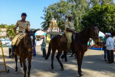 Głównej atrakcji miasta, pałacu Amba Vila strzeże policja konna. Niestety w środku pałacu, jak również w prawie każdym miejscu gdzie zabrała nas wycieczka zdjęć robić nie można.