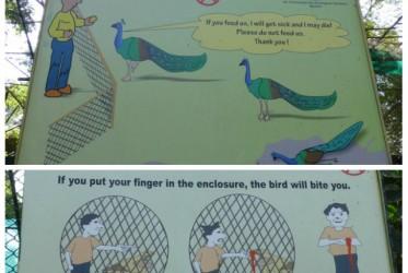 Z tego też pewnie powodu w miejskim zoo co i rusz natknąć się można na tego typu drastyczne, jasne w przekazie niczym podręczniki z zerówki tablice.